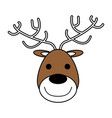 color silhouette image of face of reindeer vector image