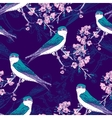 Seamless spring cherry pattern with birds vector image vector image