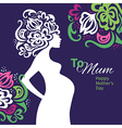 Pregnant woman silhouette with floral background vector image vector image