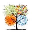 Four seasons - spring summer autumn winter Art vector image