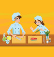 happy young cooks vector image