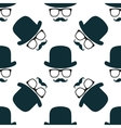Vintage hipster hat and mustache symbol seamless vector image