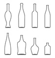Set of Glass Bottles icons Wine beer whiskey vector image