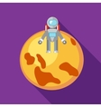 Astronaut on the moon icon in flat style vector image