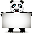 cartoon panda with blank sign vector image