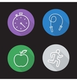Diet and exercise flat linear icons set vector image