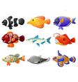 fish cartoon set vector image
