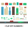 flat city elements on white background vector image