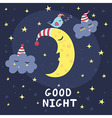 Good night card with the cute sleeping moon vector image