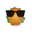 hamburger with sunglasses vector image