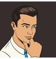 Man thinking hard pop art style vector image