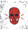 red skull with lightning bolts and grunge texture vector image