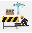 worker construction brick wall barrier crane vector image