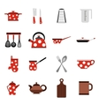Kitchen tools and utensils icons flat style vector image