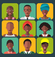 set of different african people app icons vector image