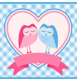 blue frame with owls for invitation card vector image