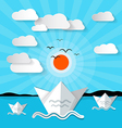 Ocean Landscape with Clouds and Sun vector image vector image