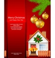 Christmas card with house vector image