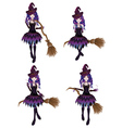 Dark Witch with Broom vector image
