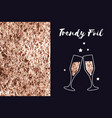 rose gold foil texture icon glasses of champagne vector image