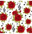 Seamless pattern with music notes and red roses vector image
