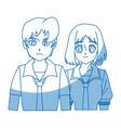 Teenager anime boy and girl hair style vector image