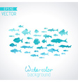 watercolor fish on light background vector image