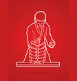 karate man breaking bricks graphic vector image