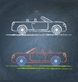 convertible car sketch on chalkboard vector image