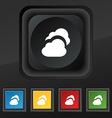 Cloud icon symbol Set of five colorful stylish vector image