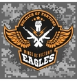 Eagle wings - military label badges and design vector image