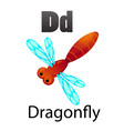 Alphabet D with dragonfly vector image vector image
