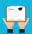 book education in the hands of student vector image