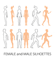 Male female silhouettes front back and side vector image