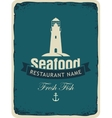 seafood restaurant with a lighthouse vector image