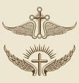vintage cross and wings elements vector image