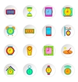 Clock icons set flat style vector image