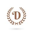 Letter D laurel wreath logo icon vector image