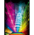 pisa tower and neon lights vector image