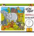 counting animals educational task vector image vector image