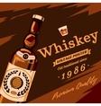 Whisky or whiskey glassware bottle retro poster vector image