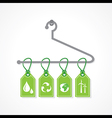 Eco icon labels hanging on a hanger vector image