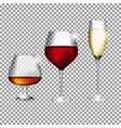 Glass of Champagne Cognac and Wine on Transparent vector image