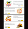 pizzeria italian recipes set vector image