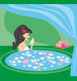 pretty girl enjoying elegant spa vector image