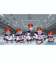 cartoon team with five funny hockey players on vector image
