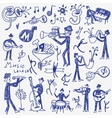 jazz musicians doodles set vector image