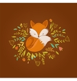 Fox sleeping on the flowers - vector image