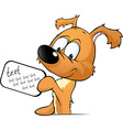 cute dog peeking holding a sign with the vector image