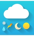 Day cloud and collection of signs isolated on blue vector image